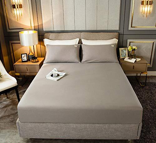 HPPSLT Protector de colchón, algodón, poliéster, Sábana de Cama Color Puro algodón-Gris Claro_180cm × 200cm