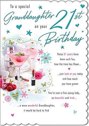 Traditionele mijlpaal verjaardagskaart leeftijd 21 kleindochter - 9 x 6 inch - Piccadilly Greetings