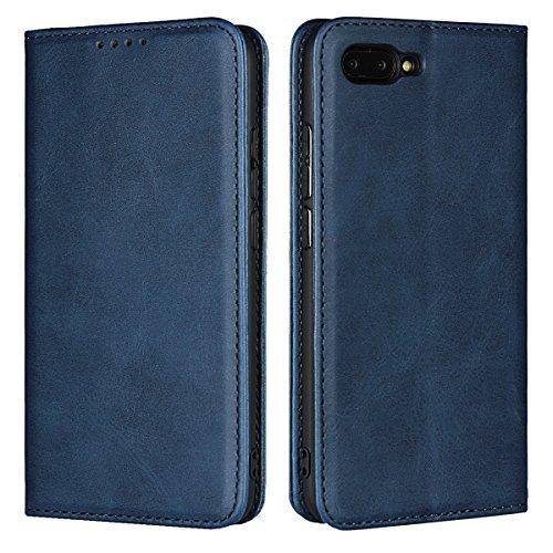 Copmob Huawei Honor 10 hülle,Premium Flip Leder Geldbörse mit weichem TPU-Shock Absorption,[3 Kartensteckplatz][Ständerfunktion][Magnetschnalle] - Blau