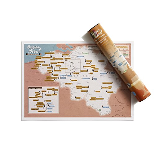 Impresión de tinta rascable de cervezas belgas - Maps International - Cartel regalo para amantes de la cerveza - Regalo en tubo - Tamaño A3, 42 (h) x 29,7 (w) cm