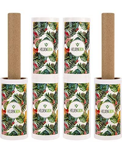 Heldengrün® Öko Fusselrolle 6er-Set [PLASTIKFREI] - Starker Öko-Klebstoff - 100% Recyclingkarton - Nachhaltige Produkte: langlebige Fusselbürste - Zero Waste Fusselroller - Ideal als Tierhaarentferner