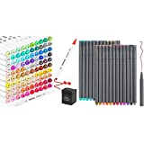 24 Fineliner Color Pens Set & 101 Colors Dual Tips Alcohol Based Markers, Taotree Fine Line Colored Sketch Writing Drawing Pens for Journal Planner Note Taking and Coloring Book, Porous Fine Point Pe