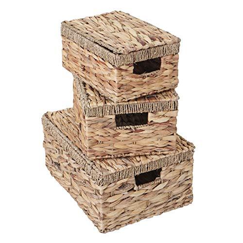 Mendler 3er Set Aufbewahrungsbox HWC-C23, Truhe Kiste Box mit Deckel, Wasserhyazinthe naturfarben - 5