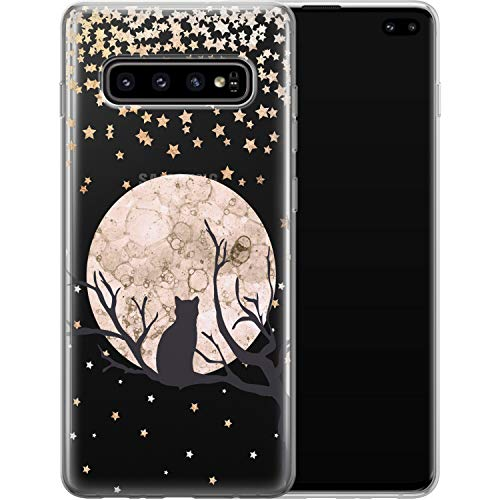 Vonna Phone Case Replacement for Samsung Galaxy S21 FE S20 Plus S10 Note 20 Ultra 5G S9 Girls Cat Kawaii Cover Kitten Teen Silicone Soft Black Animal Moon Smooth Print Design Flexible Cute Kids a024
