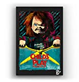 Chucky Doll from Child's Play Movie - Pop-Art Original Framed Fine Art Painting, Image on Canvas, Artwork, Movie Poster, Horror, Halloween