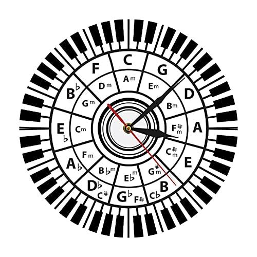 xinxin Reloj de Pared Teclas de Piano Reloj de Pared Músico Círculo de quintas Teoría de la armonía Musical Estudio de la música Compositor Decoración de la Pared del Aula Reloj de Pared Moderno