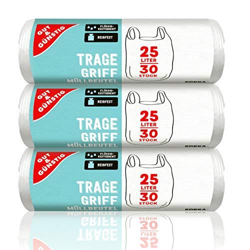 Gut & Günstig Tragegriff Müllbeutel 25L (30 Stück) - 3er Pack (3 x 30 Stück) reißfest und flüssigkeitsdicht