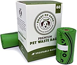 Biodegradable Dog Poop Bags | Compostable Dog Waste Bags | 100% Plastic Free, Unscented, Vegetable-Based & Eco-Friendly, Premium Thickness, Leak Proof, Easy Detach & Open | Standard Size | 60 Count