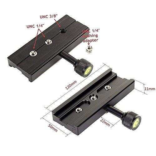 Runshuangyu Piastra a sgancio rapido compatibile con Arca Swiss 120mm QR Clamp Adapter con 1/4 3/8 vite Converter compatibile per treppiede testa a sf