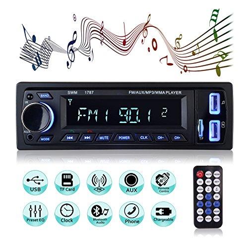 Autoradio Bluetooth Main Libre, 2 Ports USB Poste Stéréo Radio, 1 Din Radio Voiture, Soutien FM/USB/SD/AUX/EQ / MP3 Player + Télécommande