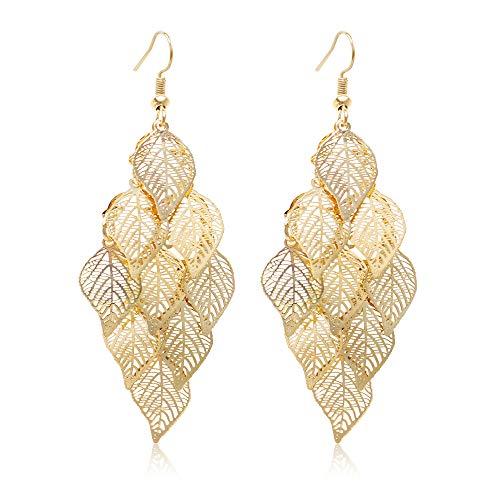 Gold Leaf Dangle Earring for Women Boho Super Lightweight Chandelier Dangle Drop Earring