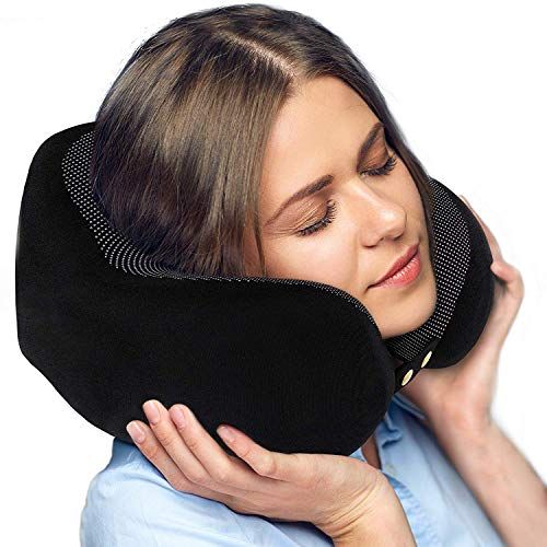 Travel Pillow - Soft Chin Neck Support Comfortable Adjustible Memory Foam Best for Sleeping Bus Airplane Car TV Reading Computer Kids Adults Carry-On Luggage