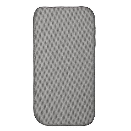 InterDesign iDry Tapete de cocina, alfombrilla escurreplatos pequeña y gruesa de poliéster y microfibra para un secado rápido, gris estaño/marfil, 46 x 23 cm