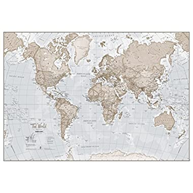 MapsInternational World Map Art Neutral - Silk Art Print