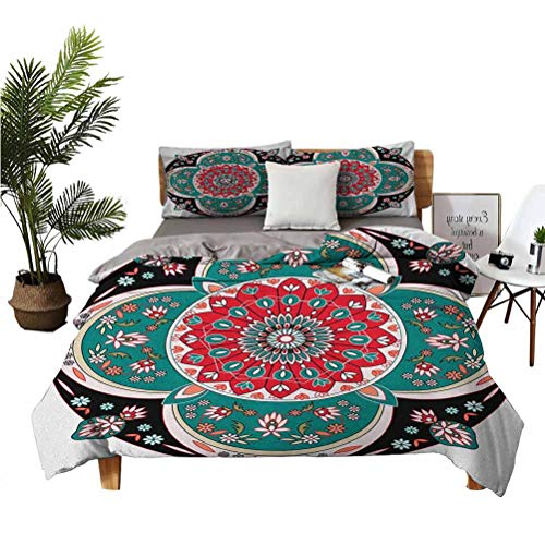 n 3 Piece Set Beautifully Printed on The Bed Oriental Ornate Embriodery Style Floral Illustration of Old Artistic Suitable for Any Bedroom or Guest Room King(104'×90') Pillowcases 3620' Multicolor