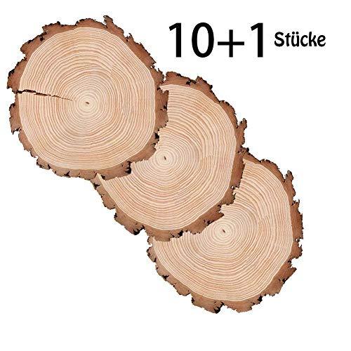 ToBeIT 10 Stücke Holzscheiben 10-13cm Holz Scheiben Verzierung DIY handwerk Hochzeit Deko (10-13cm)