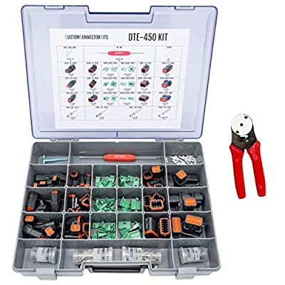 Deutsch DT Pro Connector Kit DTE-450 Black with Crimp Tool: Black Enhanced Environmentally Sealed Automotive Electrical Connectors 14-20 Gauge 450 Piece Kit with 4-Way Indent Crimp Tool