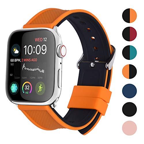 Fullmosa Watch Armband kompatibel mit Apple Watch Serie 4, Silikon Uhrenarmband für Apple Watch 44mm, Kürbis Orange Oben/Schwarz Unter