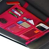 Multi-functional Car Sun Visor Organizer Pouch Bag Pockets Card Storage Holder Red Pink Rose Color