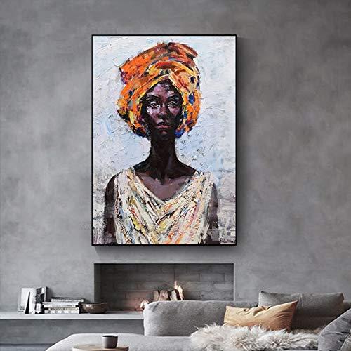 Atxbfg Gelbe Turbanfrauen DIY steuern Dekor digitalen Leinwand Ölgemälde von Nummer Kits 40x50cm