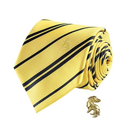 Cinereplicas - Harry Potter - Krawatte mit Anstecknadel - Deluxe Edition - Offiziel lizensiert - Hufflepuff - Einheitsgröße – 100 % Mikrofaser – Geliefert in Einer Geschenkbox - Gelb und Schwarz