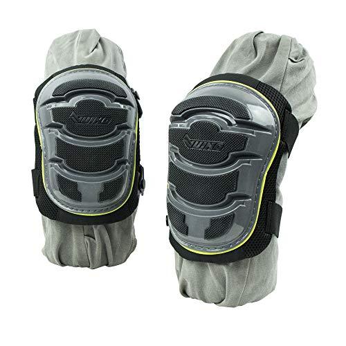 VUINO Bequeme Gel-Knieschoner mit verstellbaren Riemen und rutschfester Kunststoffkappe für Arbeiten, Bodenbelag und Dekoration.