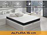 Dormi Premium Basic 15 5.0 Colchón Visco Elástico, Algodón-Poliuretano, Blanco/ Negro, 90 x 190 x 15 cm, Individual