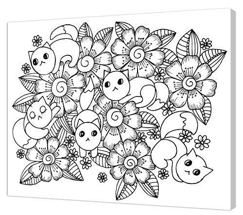 pintcolor 9087 châssis avec toile imprimée à colorier, Wood, blanc/noir, 40 x 30 x 3,5 cm