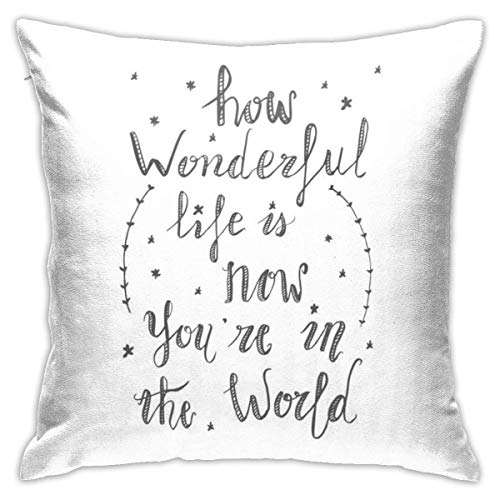 How Wonderful Life is Elton John Lyric Pillowcase, Double-Sided Printing, Hidden Zip Pillowcase, Beautiful Printed Pattern Pillowcase 18X18INCHES