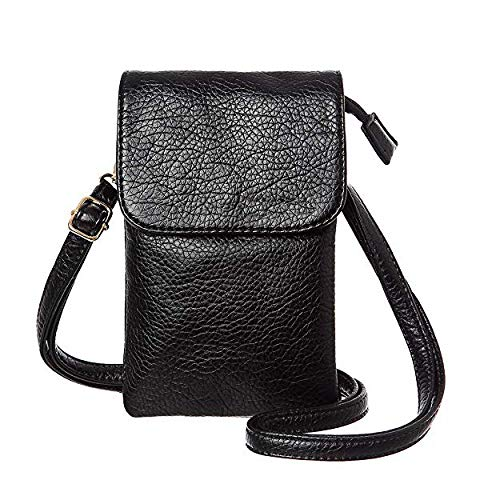 Universal Crossbody Cell Phone Purse Multipurpose Soft PU Leather Wallet Moblie Phone Pouch Shoulder Bag Carrying Cases for Smartphone Under 6.2''or Daily Use from WaitingU (E Black)