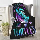 Jikokuten Beautiful Sea Turtle Animals Super Soft Flannel Blanket Lightweight Comfy Luxury Throw Warm Queen Plush Cozy Twin Bed Sofa Office Camping Medium