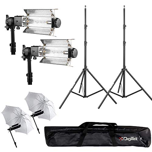 DIGITEK® Heavy-Duty Porta Kit with Pair of Light Stands   Porta Lights Pair of Umbrellas and Carry Bag for Studio Setup (Porta Kit 9FT L)