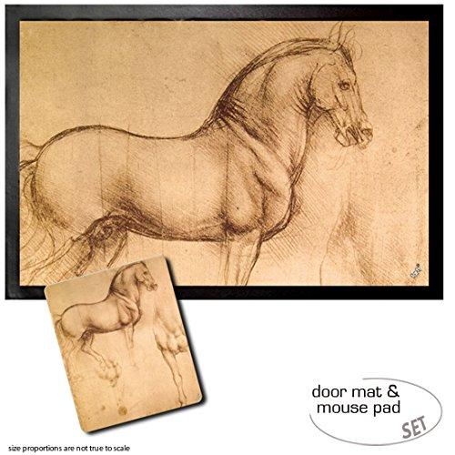 1art1 Leonardo Da Vinci, Pferdestudie, 1493-1494 Fußmatte Türmatte (60x40 cm) + Mauspad (23x19 cm) Geschenkset
