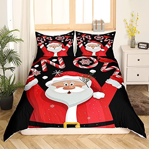 Juego de cama de dibujos animados de Navidad, juego de funda de edredón de Papá Noel, color rojo y lindo para regalo de niños, funda de edredón con 2 fundas de almohada de poliéster