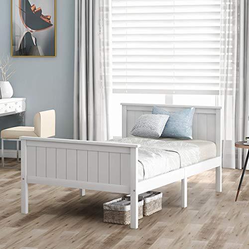 Cama individual de madera de 90 x 190 cm, estructura de cama de pino con cabecero y reposapiés, somier de láminas de madera, base del colchón, somier de láminas de madera, color blanco