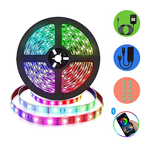 LED Streifen RGB Strip - 16.4ft (5M) Led Strip 5050, Farbe Änderung Synchron zur Musik RGB-Leuchte, APP und Bluetooth-Steuerung, LED-Lichtleiste Geeignet für Schlafzimmer Party, Heim Dekoration
