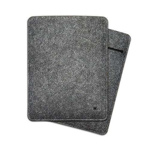"FORMGUT iPad Hülle Sleeve Tasche passgenau für iPad 7,9"" Mini 4, Mini 3, Mini 2, Schutzhülle aus Filz - Dunkelgrau Schwarz"