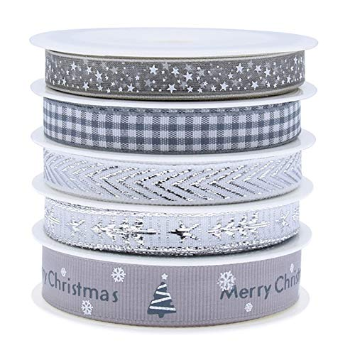 5 Arten 5M Weihnachten Grosgrain Bänder-Weihnachten Thema Band Polyester Satin Band Winterferien Stoff Band für Hochzeit,Weihnachts Dekoration,Geschenkver Packung,Haarband Nähen DIY Basteln (Silver)