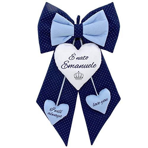 Fiocco nascita bimbo blu glitterato da personalizzare. coccarda per nascite personalizzata con nome ricamato - hand made Birth ribbon blue made in italy