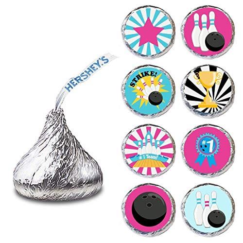 Mädchen Bowling Etikett für HERSHEY'S KISSES ® Pralinen - Süßigkeit Party Favor Aufkleber - Set von 240