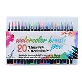 YIYYI Juego de bolígrafos de Pincel de Color 20 Colores Útiles Escolares Marcadores Dibujo Pintura Libros para Colorear permanentes Manga Caligrafía