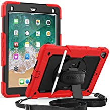 iPad 9.7 2018 Case, SEYMAC Shockproof Case with Built-in Screen Protector, Pencil Holder, 360 Degree Rotatable Stand & Hand Strap, Shoulder Strap for iPad 5th/ 6th/ Pro 9.7/Air 2 (Red/Black)