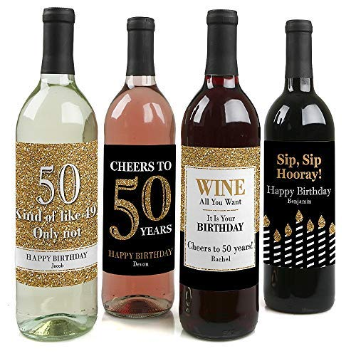 Custom Adult 50th Birthday - Gold - Personalized Birthday Party Decorations for Women and Men - Wine Bottle Label Stickers - Set of 4