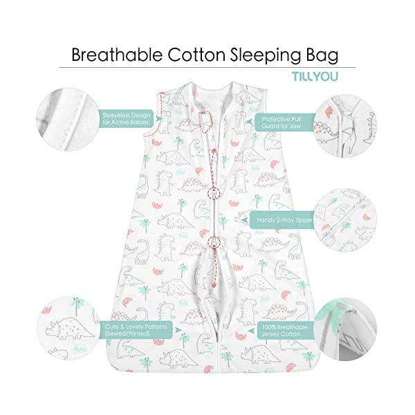 TILLYOU Small S Breathable Cotton Baby Wearable Blanket with 2-Way Zipper, Super Soft Lightweight 2-Pack Sleeveless Sleep Bag Sack Clothes, Fits Infant Newborn Ages 0-6 Months, Woodland Dinosaurs