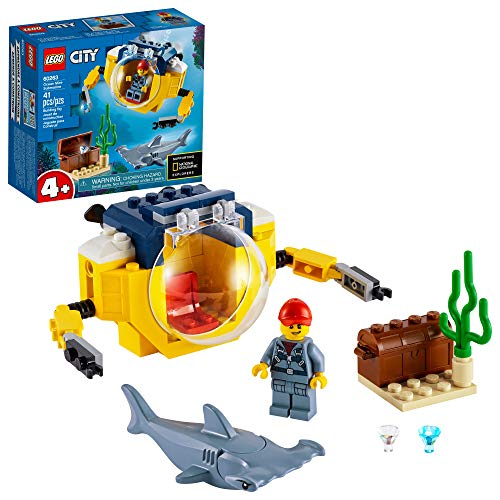 LEGO City Ocean Mini-Submarine 60263, Underwater Playset, Featuring a Toy Submarine, Pirate Treasure Chest, Hammerhead Shark Figure and a Pilot Minifigure, Great Gift for Kids (41 Pieces)