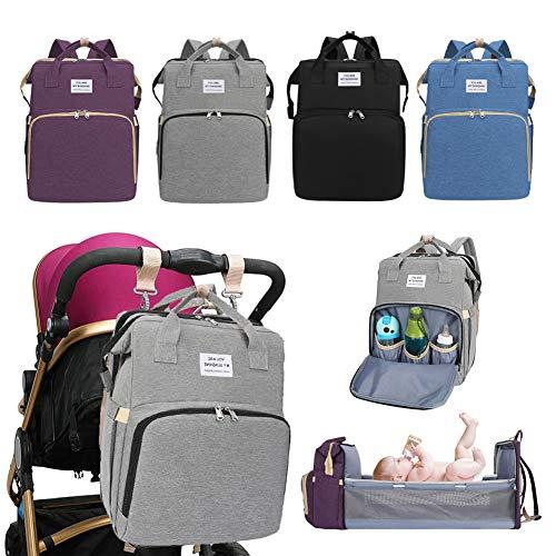 Hahepo Mochila para pañales de bebé, portátil, plegable, multifuncional, para mamá y papá en viajes, cuna de viaje