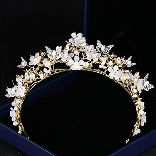FENGMEI Accesorios de Oro del Tocado Nupcial de Cristal Corona de Bodas de Diamante de Cristal Corona de Tocado de Novia Novia Crystal Crown HG244