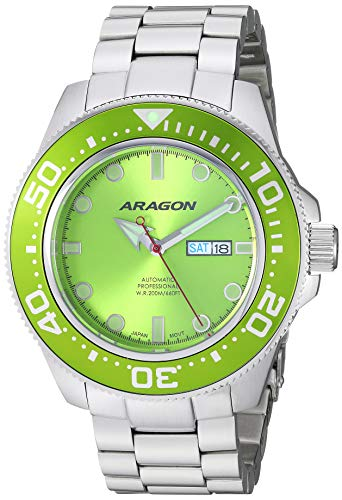 Aragon Men's Automatic-self-Wind Watch with Stainless-Steel Strap, Silver, 24 (Model: A054LIM)
