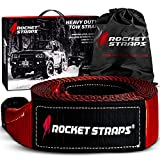 Rocket Straps - 3' x 30' Heavy Duty Tow Strap   30,000 LBS Rated Capacity Recovery Strap   Vehicle Tow Straps with Protected Loop Ends   Emergency Off Road Truck Accessories Towing Rope   Storage Bag