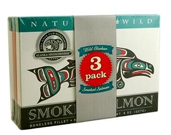 Alaska Smokehouse Jumbo Smoked Salmon  8 Oz  3Count Variety Pack